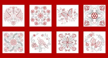 Scarlett Stitches - 24in Redwork Panel