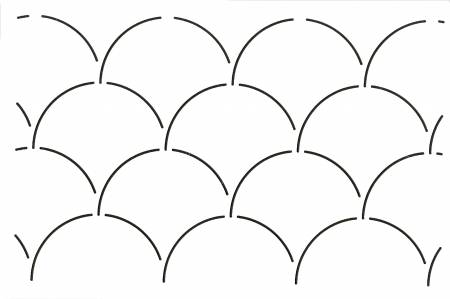 N- Quilt Stencil Clam Shell Background 3 1/2