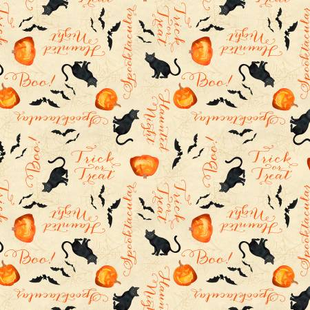 Haunted Night 27590-298 Tan Haunted Words Allover