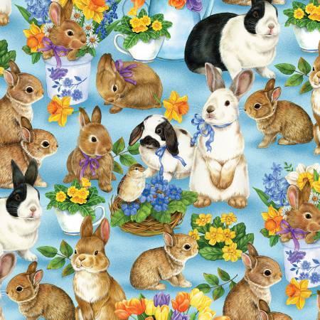 Garden Gathering - Blue Bunnies Allover - 28126-425