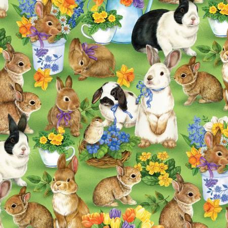Garden Gathering - Green Bunnies Allover - 28126-725