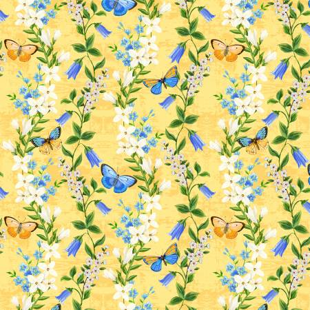 Madison Yellow Floral  1406-28132-514 100% Cotton