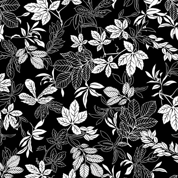 White/Black Modern Leaf 108in Wide Back