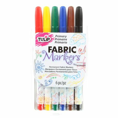 Fine Point Fabric Markers 6ct Primary