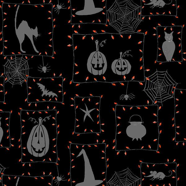 Cheeky Pumpkin Black w/ Cats & Webs