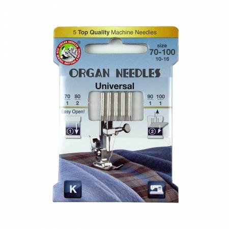 Organ Needles Universal Assortment (1 ea 70/90/100 - 2ea 80) Eco Pack