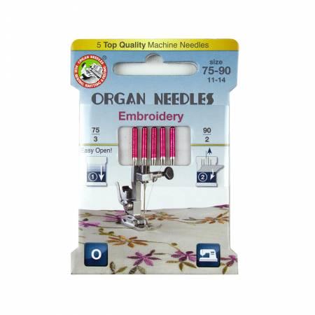 Needles Embroidery Assortment (3x75, 2x90) Organ Brand