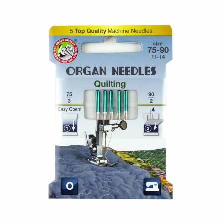 Organ Needles Quilting Assortment (3ea 75, 2ea 90) Eco Pack