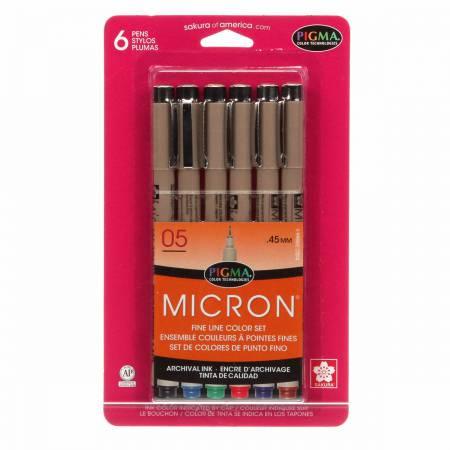 Pigma Micron Pen Set Size 05  6 Colors