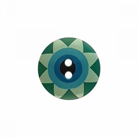 Kaffe Fassett Button Star Flower Blue/Green Lg 20mm