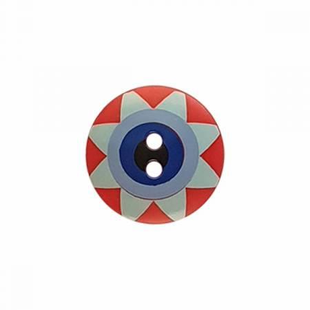 Kaffe Fassett Button Star Flower Red/Blue Sm 15MM