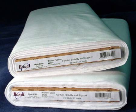 Bosal 100% Cotton Woven Fusible Interfacing White 20in x 25yds  300  for firm stablity and support
