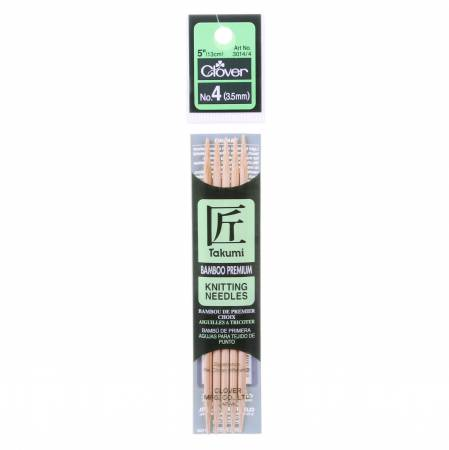 Clover Takumi Bamboo 5in Double Point Knitting Needle Size 4
