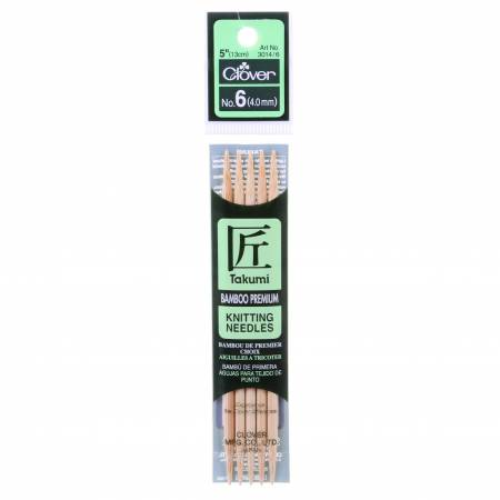 Clover Takumi Bamboo 5in Double Point Knitting Needle Size 6
