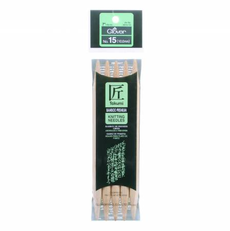 Clover Takumi Bamboo 7in Double Point Knitting Needle Size 15
