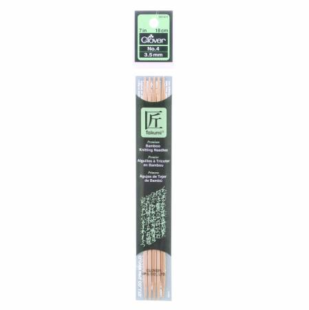Clover Takumi Bamboo 7in Double Point Knitting Needle Size 4