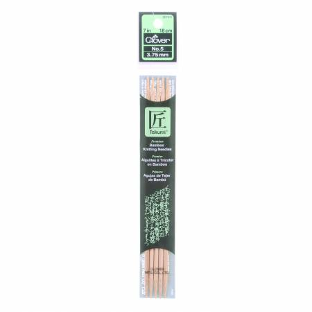 Clover Takumi Bamboo 7in Double Point Knitting Needle Size 5