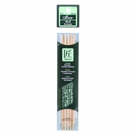 Clover Takumi Bamboo 7in Double Point Knitting Needle Size 8