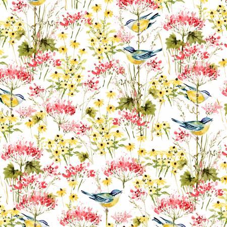 Wilmington Meadow Bloom Birds & Flowers - White/Multi