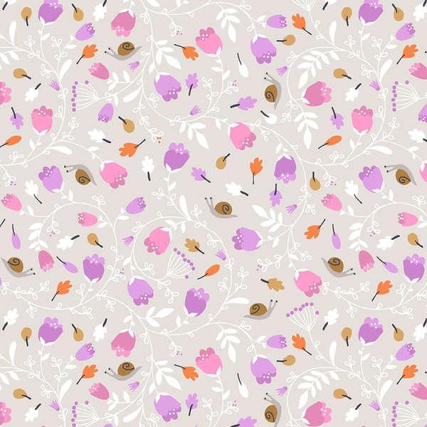 Gentle Forest Pink/Grey Floral Vines