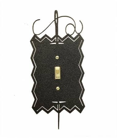 Hand Painted Needle & Thread Single Switch Cover - Black