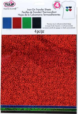 Iron On Transfer Sheets 8-1/2in x 11in Holographic Shimmer Red 4pk