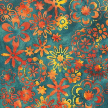 Dark Teal Bloom Batik