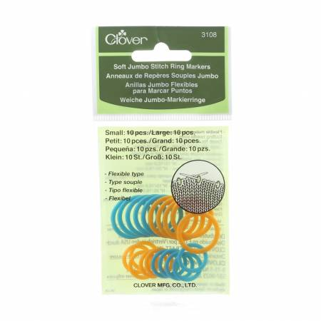 Clover Soft Jumbo Stitch Ring Markers 20 ct