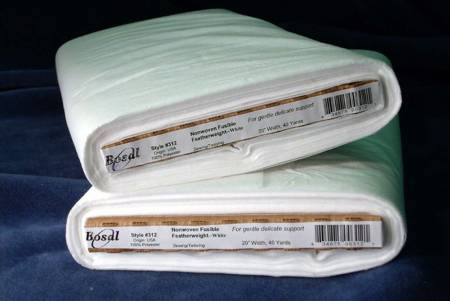 Bosal Non-Woven Fusible Feather Weight Interfacing 312B White 20 inches wide
