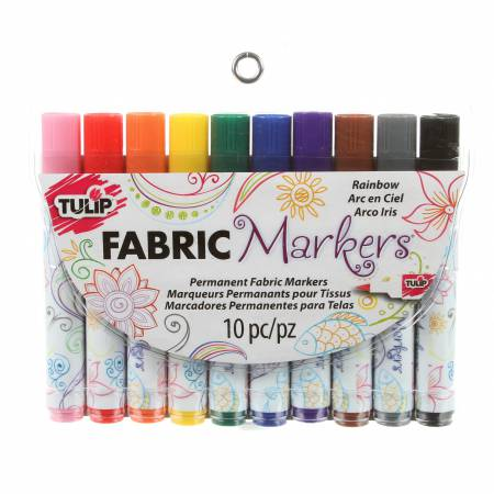Tulip Brush Tip Rainbow 10 Pack Fabric Markers