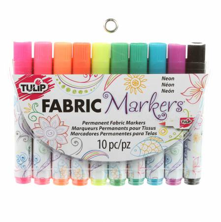 Brush Tip Neon 10 Pack Fabric Markers