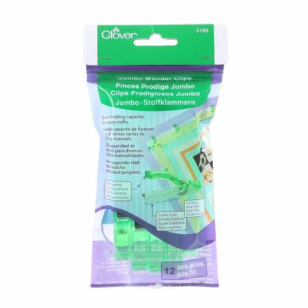 Wonder Clips Jumbo 12 Count - Clover 3186