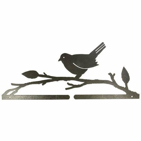 14-1/2in Bird On A Branch Split Bottom Holder Charcoal