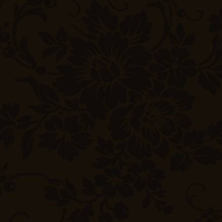 Dark Brown Floral Damask