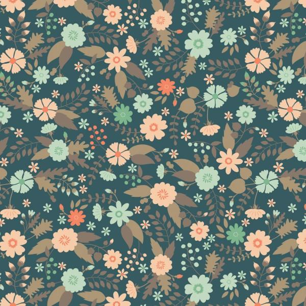 Flourish, Dark Teal Floral
