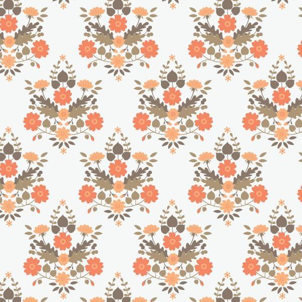 Peach Floral Damask
