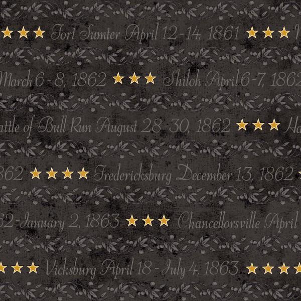 Black Words, Stars & Stripes Civil War Reproduction
