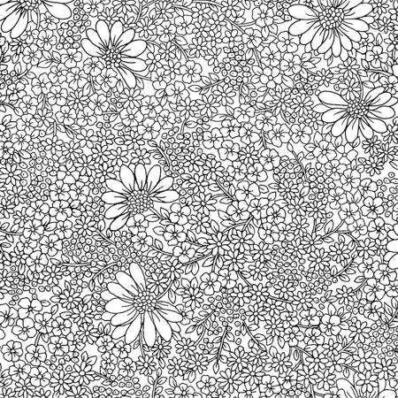 White/Black Linework Floral