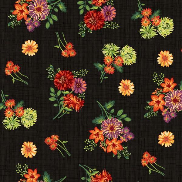 Autumn Abundance Black Tossed Flowers