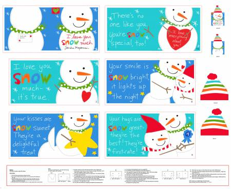 Snowman Book Panel - 36 x wof  multi