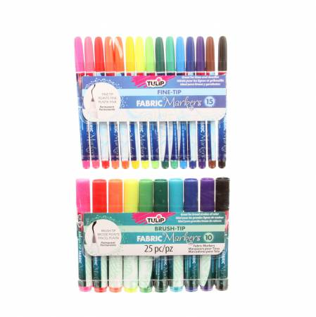 33711 Tulip Fine and Brush Tip 25 Pack Fabric Markers