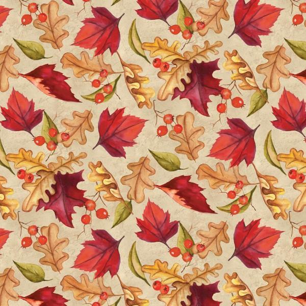 Thankful Harvest - Autumn All Over Leaves Tan