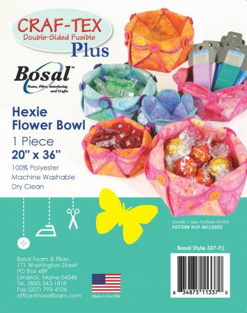 **Hexie Flower Bowl 1pc 20in x 36in Double Sided Fusible