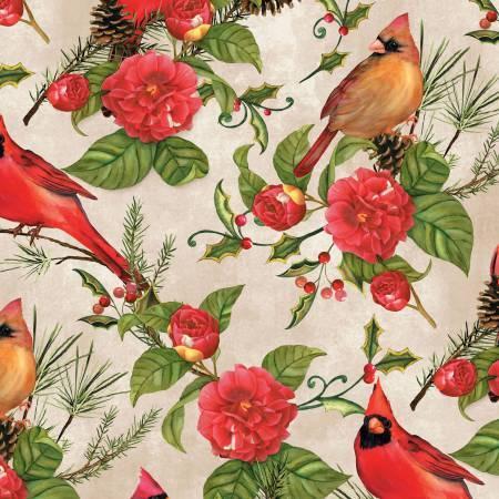 Tan Flowers & Cardinals