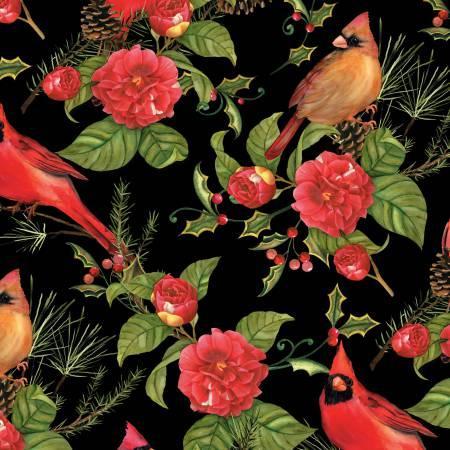 Christmas In The Wildwood Black Flowers & Cardinals