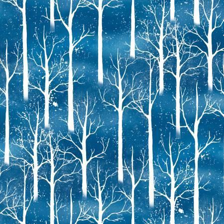 SNOWY FRIENDS DARK BLUE WITH WHITE TREES 33818 441
