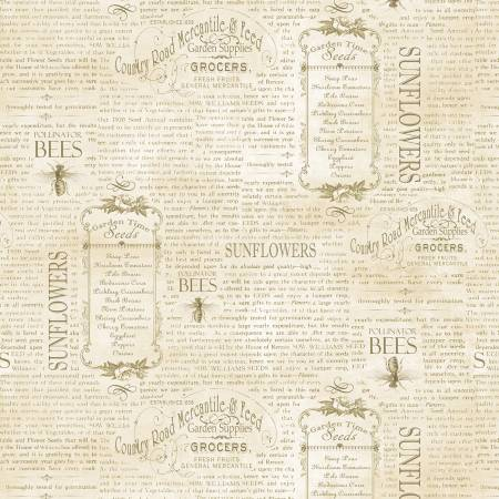 Country Road Market - Tan Vintage Words - by Wilmington Prints