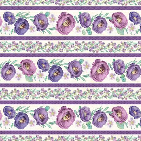 Wilmington Violette 33855-176 Multi Violette Repeating Border Stripe