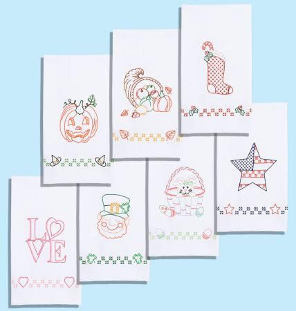 0340-DECORATIVE HAND TOWEL SET 7 Ct (17 x 28)- 0870 Holidays