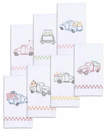 Holiday Trucks - Set of 7 Hand Towels